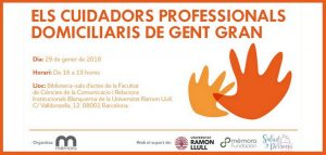 Els cuidadors professionals domiciliaris de gent gran - Jornada Barcelona