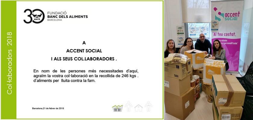 Accent Social col·labora amb el Banc dels Aliments Barcelona