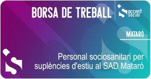 Oferta laboral Servei Atenció Domiciliària SAD Mataró