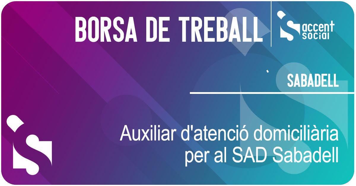 Oferta de treball Auxiliar d'Atenció Domiciliària SAD Sabadell